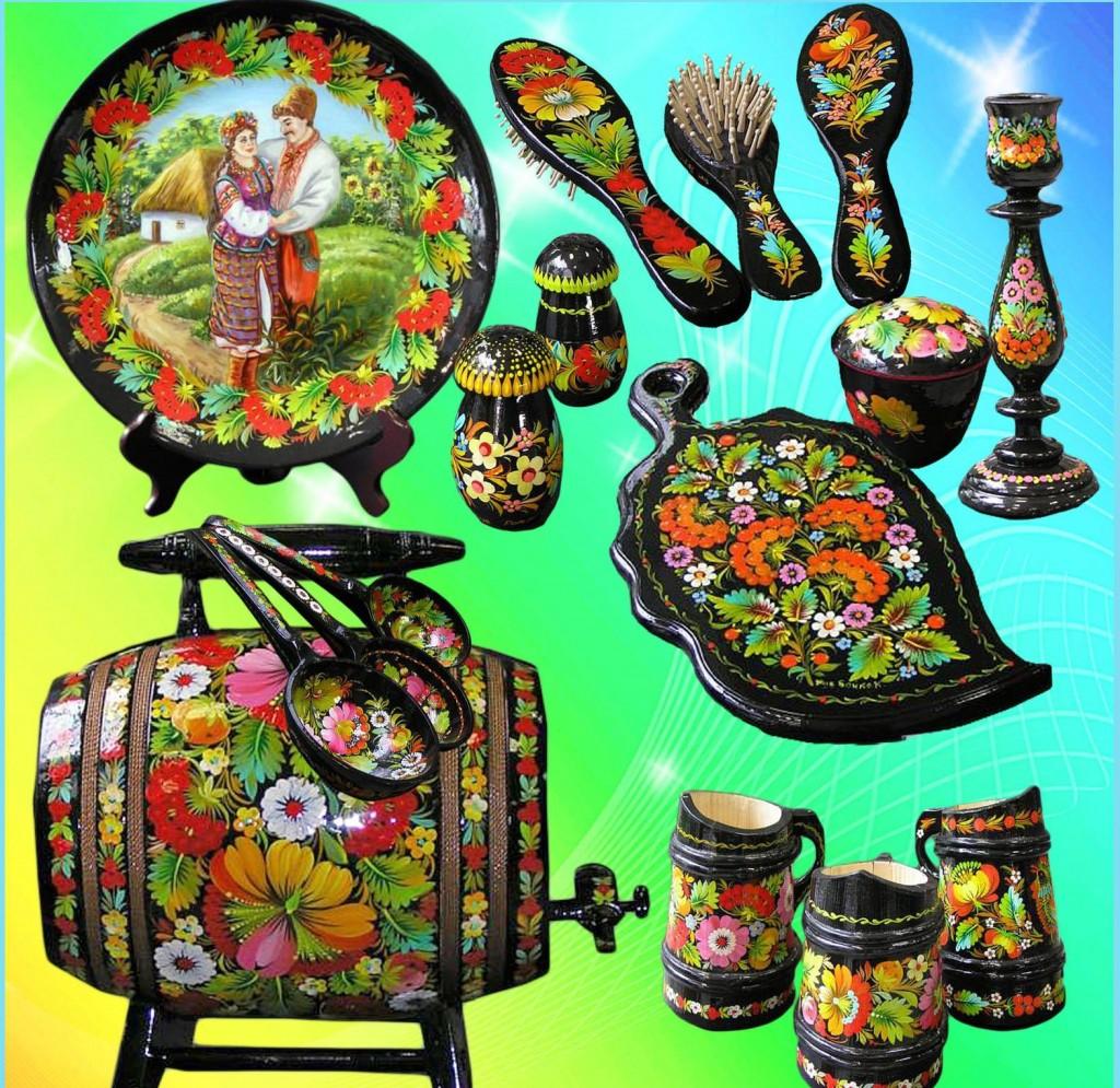 Расписная посуда, сувениры